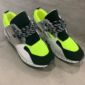 Lime Green/Leopard Print Sneakers